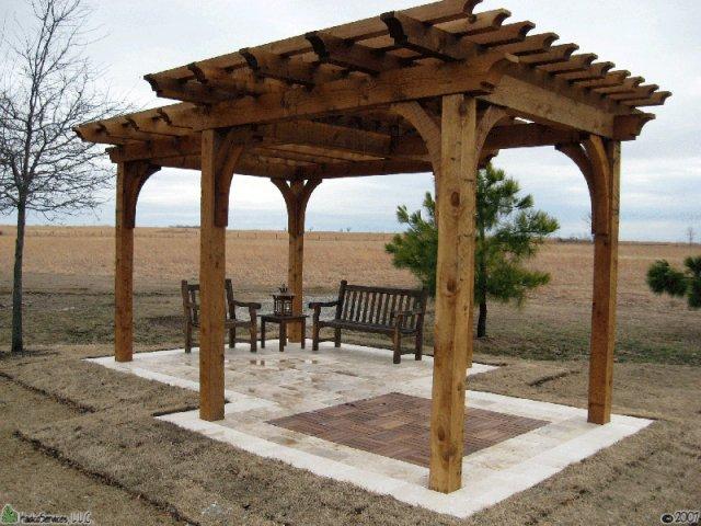 Tulsa Landscape doulble offset arbor pergola