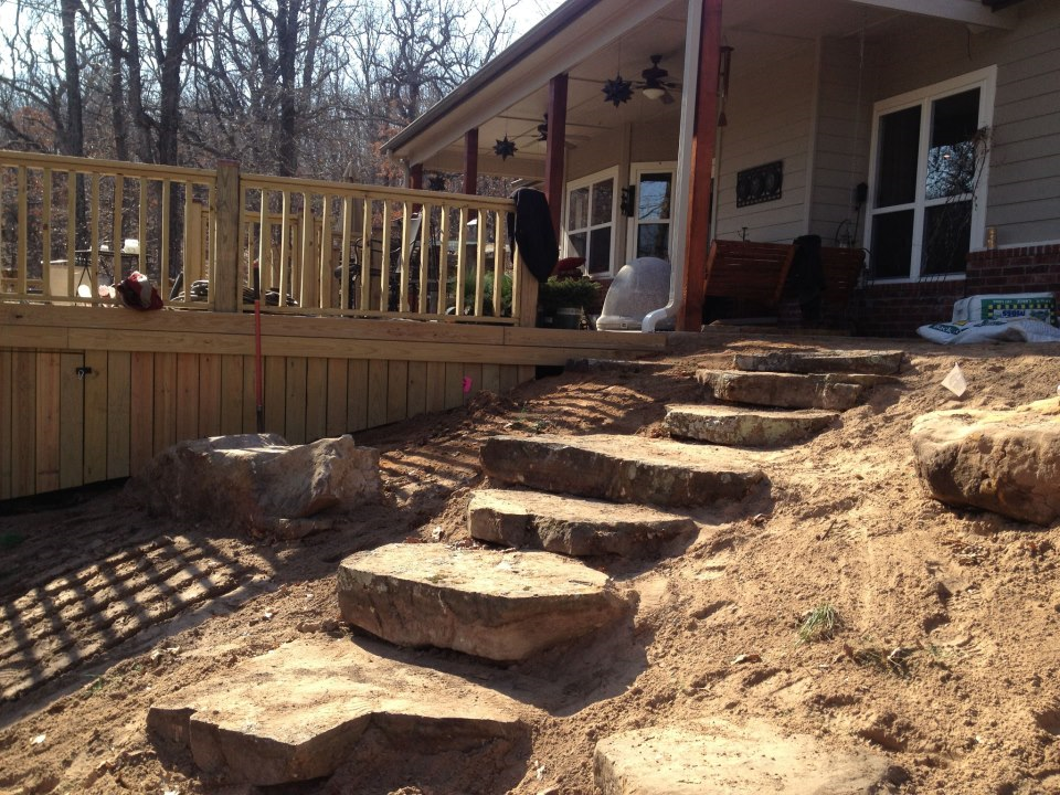 Natural Sandstone steps before planting