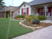 Tulsa Landscape Tumbled rock edging